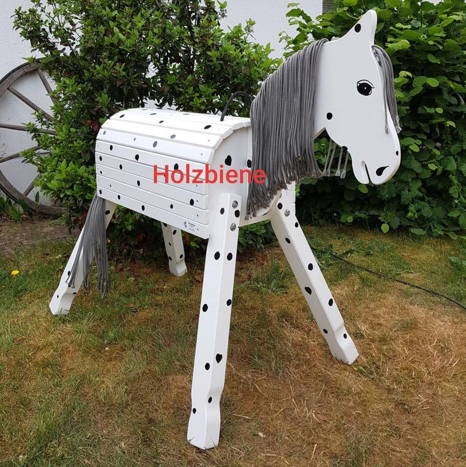 "Pony ""Lucky"" weiß mit schwarzen Punkten ab 70-100cm Stockmaß"