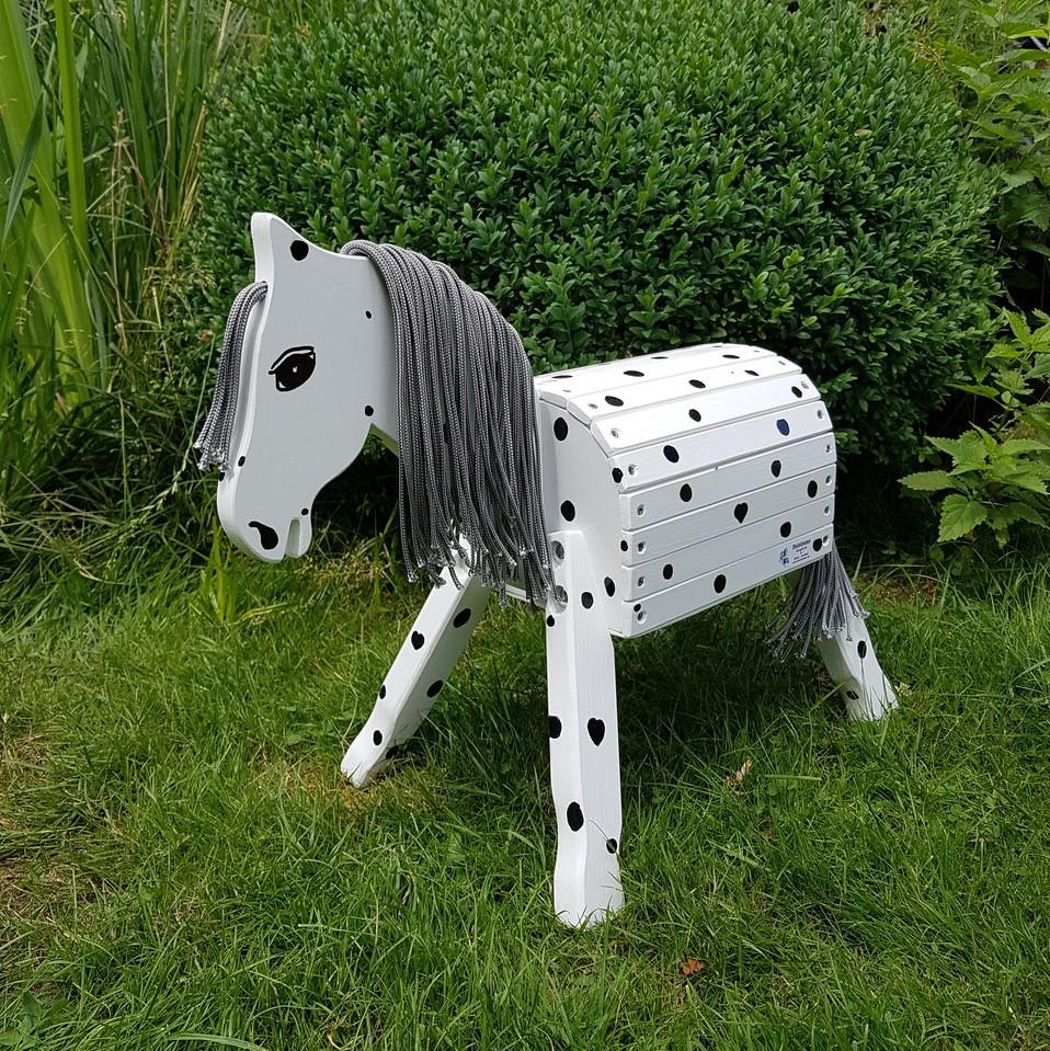 """Pony """"Dabby"""" 34cm Stockmaß weiß mit Punkten inkl. Augen und Nüstern"""