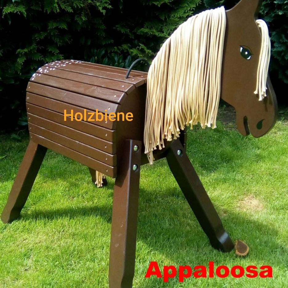 """Pony """"Lucky"""" Appaloosa 70 cm, dunkelbraun mit weißen Punkten auf dem Po inkl. Augen u.Nüstern"""